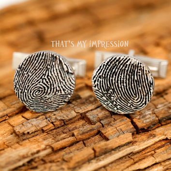 Silver Cufflinks with Fingerprints Men's Jewelry, Personalized Gifts for Him, Personalized Gifts, Father's Day Gifts, Memorial Jewelry