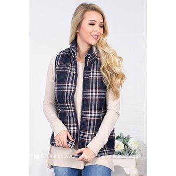 Quilted Plaid Fall Vest | Navy