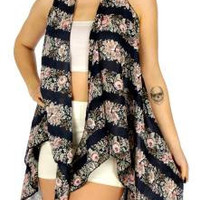 Floral Band Vest one Size Fits Most in 2 Colors