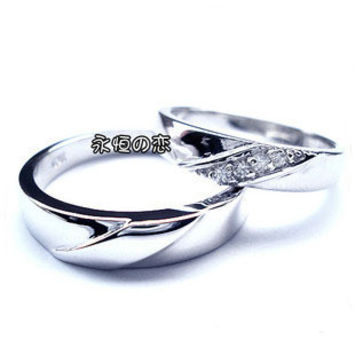 Ever After Love Couples Ring for Women .925 Sterling Silver Zirconium Diamond-Size 6