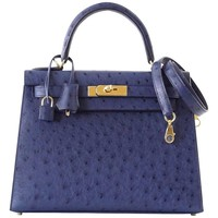 Hermes Kelly 28 Sellier Bag Ostrich Blue Iris Gold Hardware