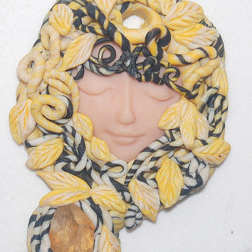 Citrine crystal Shamaness Sacred Women,Tribal Goddess Healer Woman Medusa Polymer Clay Art Pendant approx. 2.5 inches