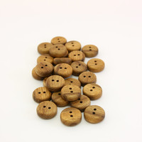 "10 Wooden buttons- Oak wood buttons- 15mm (19/32"")- Handmade buttons- Natural buttons- Small round buttons"