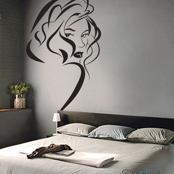 Vinyl Wall Decal Sticker Sexy Girl Hair Style #471