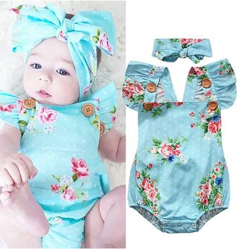 2017 Newborn Baby Girls Floral One-pieces Romper Sunsuit Headband Clothes Set Baby Clothing 0-24M