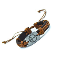 Peace Leather Bracelet (Brown)