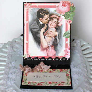 Valentine's Day Card, Graphic 45 Mon Amour Greeting Card Valentine Romantic 3D Pop Up Card, Paper handmade greeting card