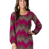 Karlie® Women's Magenta Chevron Print Long Sleeve Dress