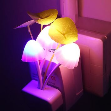 Novelty Night Light Dream Mushroom Fungus Luminaria Lamp 3 LED Mushroom Lamp LED Nightlight EU US Plug