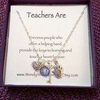 Teacher gift - sterling silver necklace with charms - Mystic purple quartz briolette, key, heart and hand