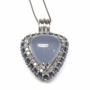 Vintage 90s 10K Chalcedony Sapphire and Diamond Pendant Necklace