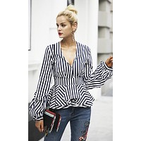 Busy Signals Gathered Long Sleeves Plunge V Neck Pleated Peplum Ruffle Blouse Top - 3 Colors Available