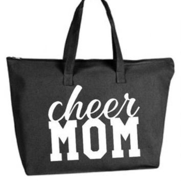 Cheer Mom Large Tote Bag with zipper closure - Game Day Bag, Purse, Gift Bag, Overnight Bag