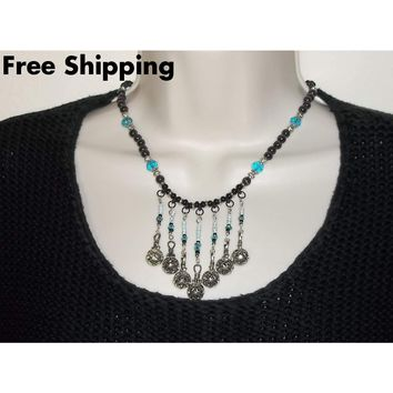 Black Cat's Eye & Teal Blue Beaded Hand Crafted Choker  Bib Necklace