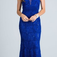 Royal Blue Sleeveless Fit and Flare Evening Gown with Illusion Inset