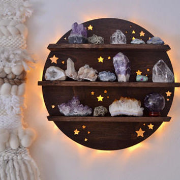 Full moon light up shelf, moon shelf, geometric shelf