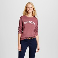Women's Blessed Long Sleeve Graphic Sweatshirt - Zoe+Liv (Juniors') Burgundy