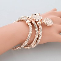 LongWay 2017 New Fashion Bracelets Bangles Jewelry Gold Color Chain Bracelet Round Hollow Charm Bracelets For Women SBR140339