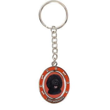 PEAPGQ9 Black Labradoodle Portrait Oval Metal Keychain