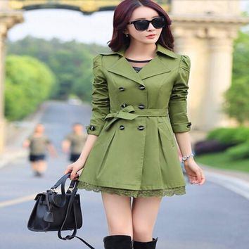 WKOUD Autumn Elegant Trench Coats For Women Fashion Bow Outerwear Long Slim Double Breasted Coats 6 Colors C8076
