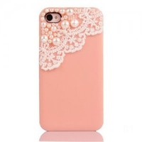 Lace with Pearl iPhone 4 / 4S Case-light pink