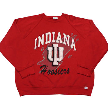 Vintage 90s Indiana University Hoosiers Red Crewneck Sweatshirt Mens Size Large