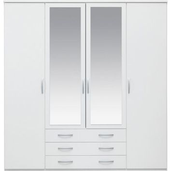 New Hallingford 4 Dr 3 Drw Mirrored Wardrobe - White | Homebase