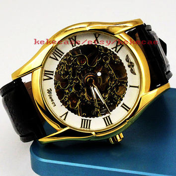 Steampunk wrist watch,Gold mechanical watch,Leather watch,Anniversary Gifts for Men.-T033