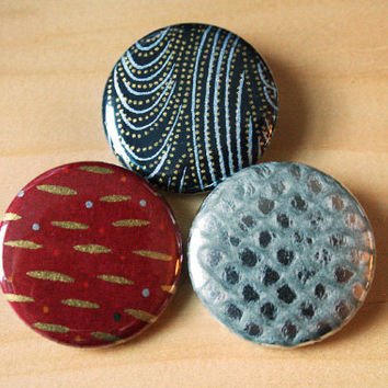 Scrapbook Trio // three 1.25 inch buttons