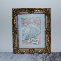 Ornate French Provincial gold and pink resin framed fan and rose print, Victorian decor, wedding frame, gold frame