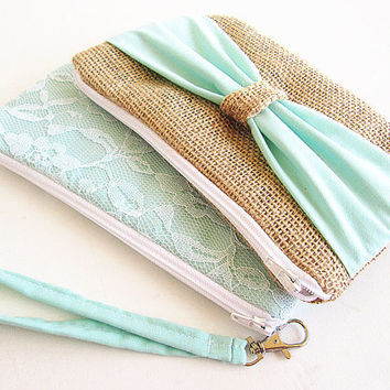 2 Mint Burlap wristlets -burlap clutch-bridal clutch -bridesmaid clutches.