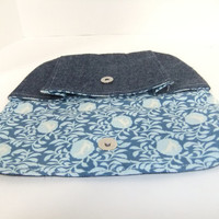 Denim medium Pleated Pouch with stag/deer cotton lining