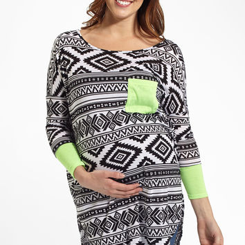Green Neon Colorblock Sleeve Tribal Print Maternity Top