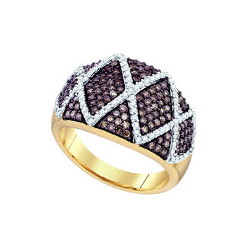 10k Yellow Gold Womens Cognac-brown Diamond Wide Striped Cocktail Band Ring 1.00 Cttw 72860