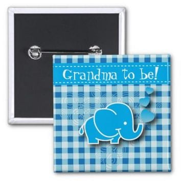 Blue Baby Elephant | Grandma to be 2 Inch Square Button