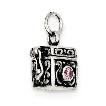 Sterling Silver Antiqued Prayer Box Charm QC4459