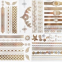 Metallic Gold Fashion Flash Tattoos - Watch Design Set - 5 Sheets