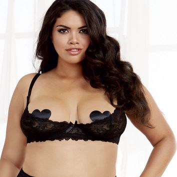 Plus Size Sultry Nights Open Cup Shelf Bra