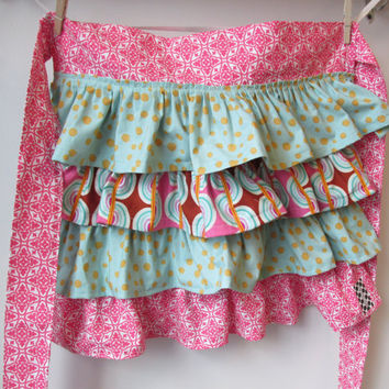 Fabulous Frilly Half Apron with Lots of Ruffles and Polka Dots Pink, Aqua and Brown