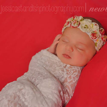 Newborn Tieback, Couture Baby Headband, Newborn Headband, Strings of Roses, White, cream, pink, baby photography props - Canada
