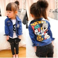 Autumn Spring Children outerwear Jeans jacket casual coat Fashion baby boys Cartoon coat Kids mickey Minnie clothes 2-7