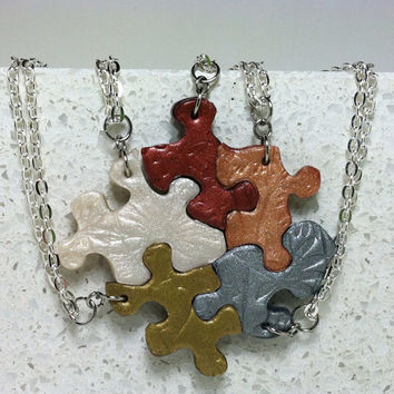 Puzzle Pieces Necklace Set of 5 Flower Blossom Multi Color Metallics Best Friend Pendants Polymer Clay Set 292