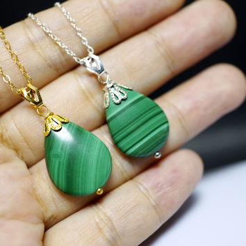 Malachite Necklace  -  Sterling Silver Natural Malachite Necklace, Gold Filled Malachite , Teardrop Green Stone Necklace , Tiny Malachite