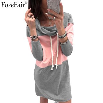 ForeFair Pink Gray Patchwork Tube Casual Dress Autumn Women Turtleneck Long Sleeve Straight Dress Plus Size