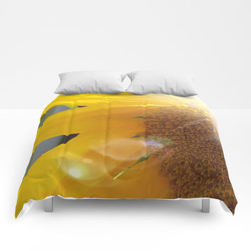 Bright Sunny Sunflower Comforters by 11penguingirl