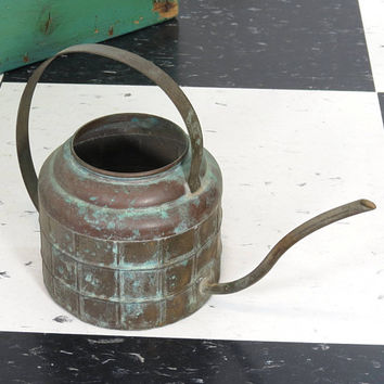 Vintage Brass Watering Can . Small Well Worn . Great Patina Verdigris . Planter