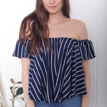 DCCKUNT Casual Loose Navy Blue Stripes Blouse Shirts