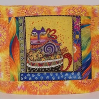 Toaster Cover with Laurel Burch Cat - Two Slice Toaster Cover - Cat Toaster Cover - Yellow and Orange Toaster Cover