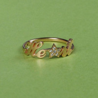 Handwriting Style Name Ring - Crystal Stones Name Ring - Diamond Ring - 18K Gold Plated