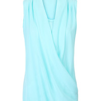 Sky Blue V-neck Wrap Front Ruched Detail Chiffon Blouse